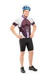 Męski rowerzysta target642_0_ hełm i target644_0_ Fotografia Royalty Free