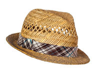 Męski słomiany kapelusz odizolowywający Obrazy Royalty Free