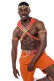 Męski samba tancerz pozuje nad bielem obrazy royalty free