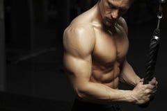 Męski sprawność fizyczna model z nagą półpostacią pozuje w gym Zdjęcia Royalty Free