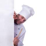Męski szef kuchni trzyma pizzy pudełko Obraz Stock