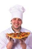 Męski szef kuchni trzyma pizzy pudełko Fotografia Stock