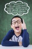 Męski uczeń uczy się wielo- języka Obraz Royalty Free