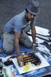 Męski uliczny artysty obraz w piazza Navona, Rzym, Włochy fotografia royalty free