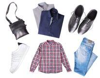 Męski ustawiający ubrania odgórny widok odizolowywający Obraz Stock