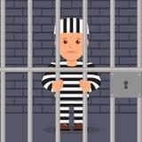 Męski więzień w kreskówka stylu ilustracji