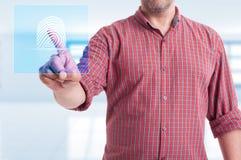 Męski wzruszający nowożytny guzik dla odcisku palca obrazu cyfrowego fotografia stock