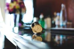 Męski Złoty zegarek Fotografia Stock