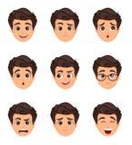 Męskie emocje ustawiać Wyraz twarzy Postać z kreskówki z var Zdjęcia Royalty Free