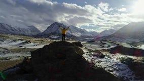 Męskie halnego arywisty dźwigania ręki z icepick na górze śnieżnego szczytu zdjęcie wideo