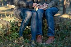 Męskie i żeńskie postacie w jesień lesie, rocznika styl Obrazy Royalty Free