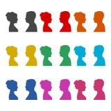 Męskie i żeńskie sylwetki naprzeciw each inny, koloru set royalty ilustracja
