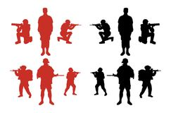 męskie militarne sylwetki ilustracji