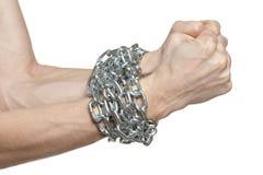 męskie przykuwać ręki Fotografia Royalty Free