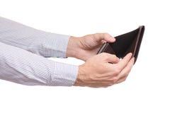Męskie ręki opróżniają portfel kiesy Fotografia Stock