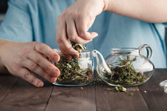 Męskie ręki Stawiają ziołowej herbaty w czajniku Obrazy Royalty Free