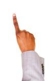 Męskie ręki, wskazuje. Znak. Zdjęcie Stock