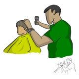 Męskiego fryzjera męskiego tnący włosy klienta wektorowy ilustracyjny nakreślenie Obraz Royalty Free