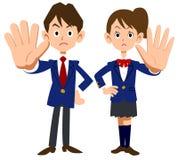 Męskiego i żeńskiego ucznia odzież która pozuje odmowę ilustracji