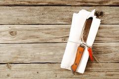 Męskiego stku Tnący nóż Wiązał na pielusze z Chili pieprzem Obrazy Royalty Free