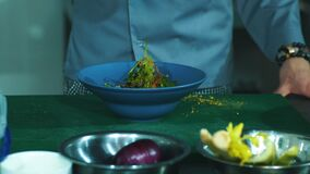 Męskiego szefa kuchni sumujące pikantność sałatka w kuchni, zbliżenie zbiory wideo