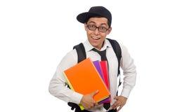 Męskiego ucznia mienia notatki odizolowywać na bielu zdjęcia stock