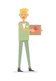 Męskiej pielęgniarki Medyczny technik Odizolowywający na bielu Zdjęcie Stock
