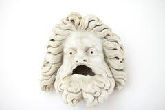 Męskiej teatralnie maski pierwszy wiek A d Klasyczna rzymska grecka rzeźba zdjęcia stock