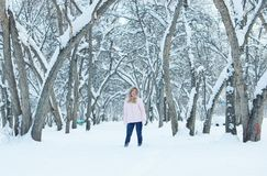 Młoda ładna kobieta odpoczynek plenerowego w zimie zdjęcia royalty free