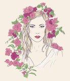 Młoda ładna kobieta Patroszona elegancka dziewczyna w kwiatach Romantyczna dama Ilustracji