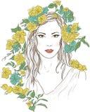 Młoda ładna kobieta Patroszona elegancka dziewczyna w kwiatach Romantyczna dama Royalty Ilustracja
