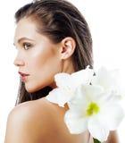 Młoda ładna kobieta z Amarilis kwiatu zakończeniem up Fotografia Royalty Free