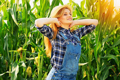 Młoda średniorolna dziewczyna na kukurydzanym polu Obraz Royalty Free