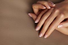 Młoda Żeńska palma Piękny splendoru manicure francuskiego stylu zrób sobie paznokcia polskich produktów Dba o rękach i gwoździach obrazy stock