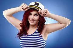 Młoda żeglarz dziewczyna w zbliżeniu Obraz Royalty Free