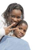 Młoda Afro dziewczyna, chłopiec odizolowywający i, Obrazy Royalty Free