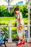 Młoda Amerykańska kobiety lata moda w Nowy Jork Obraz Royalty Free