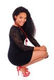 Młoda amerykanin afrykańskiego pochodzenia kobieta z długie włosy Obrazy Stock