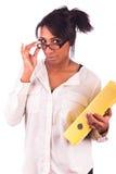 Młoda amerykanin afrykańskiego pochodzenia kobieta z długie włosy Obraz Royalty Free