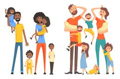Młoda amerykanina i caucasian rodzina Rozochoceni i zmęczeni rodzice z dziećmi Śmieszni małe dzieci i noworodkowie mieszkanie ilustracja wektor