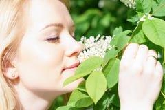 Młoda atrakcyjna caucasian kobieta w zielonym lesie z uśmiechem obwąchuje okwitnięcie czeremchowy, trzyma je rękami przy słoneczn Obrazy Royalty Free