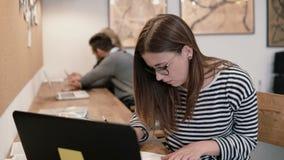 Młoda atrakcyjna dziewczyna używa laptop w nowożytnym początkowym biurze, pracujący z dokumentami, robi notatkom Obraz Royalty Free