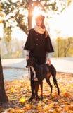 Młoda atrakcyjna dziewczyna ubierający elegancko spacery z psim greyh Fotografia Stock