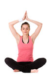 Młoda atrakcyjna kobieta w joga medytaci pozie fotografia royalty free