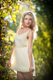 Młoda atrakcyjna kobieta w romantycznej jesieni scenerii Fotografia Royalty Free