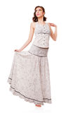 Młoda atrakcyjna kobieta z biel suknią. Obraz Royalty Free