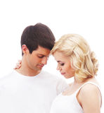 Młoda atrakcyjna para: ciężarna matka i szczęśliwy ojciec Zdjęcie Royalty Free