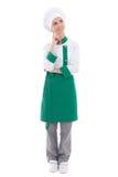 Młoda atrakcyjna szef kuchni kobieta marzy lub myśleć o coś Fotografia Stock