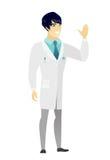 Młoda azjata lekarka macha jego ręka royalty ilustracja
