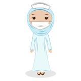 Młoda azjata Muslimah lekarka jest ubranym hijab (kobieta) royalty ilustracja